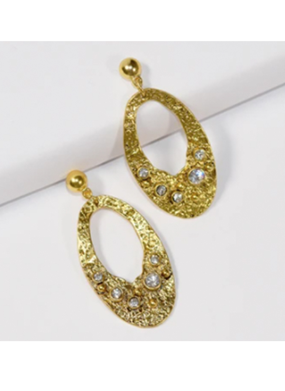 Karina Sultan Gold with Crystal Oval Earrings