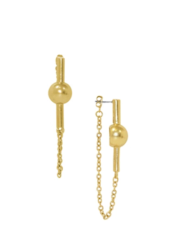 Karina Sultan Gold Ball with Chain Earrings