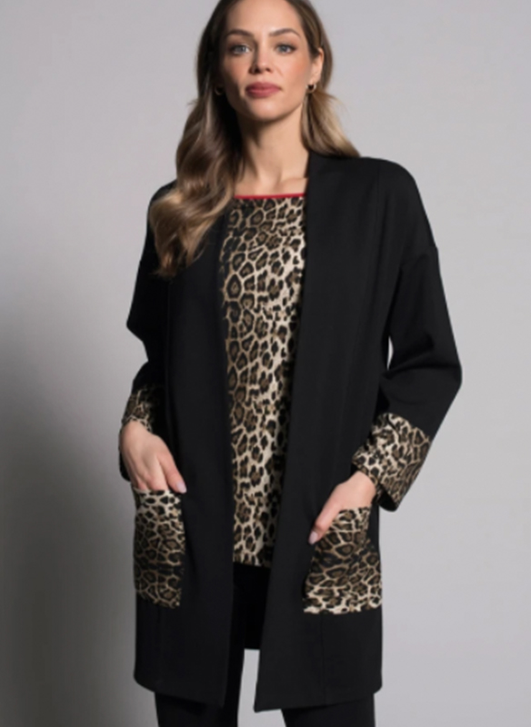 Piccadilly Open Jacket with Leopard Accents