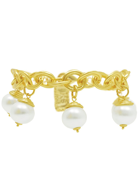 Karina Sultan Gold and Pearl Chain Bracelet