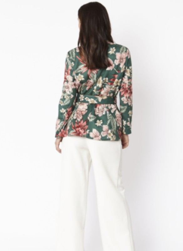 Jayley Floral Print Faux Suede Tie Waist Jacket