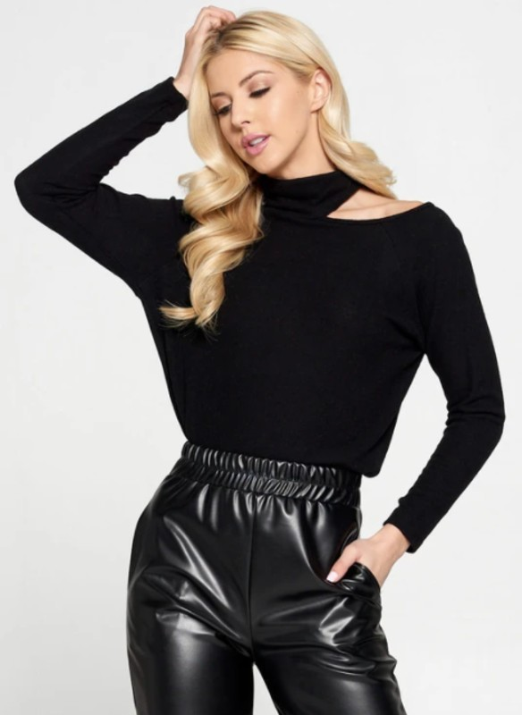 reneec. Cold Shoulder Turtleneck