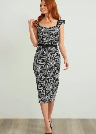 Joseph Ribkoff Zip Front Dress With Floral Motif