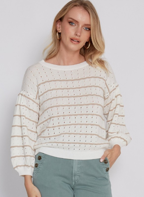 Another Love Crew Neck Sweater With Stripes