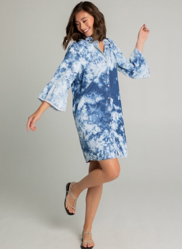Gabby Isabella Denim Tie Dye Shirt Dress
