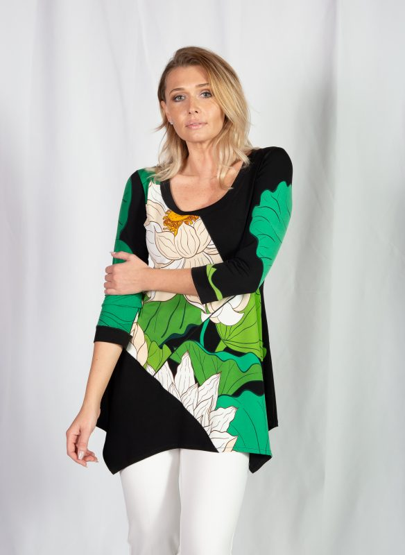 Eva Varro Green Floral Boho Print Top