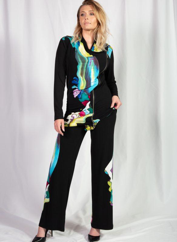 Eva Varro Abstract Print Layered Flounce Zipper Jacket Top