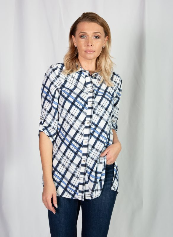 Michael Tyler Plaid Shirt With Roll Up Sleeves