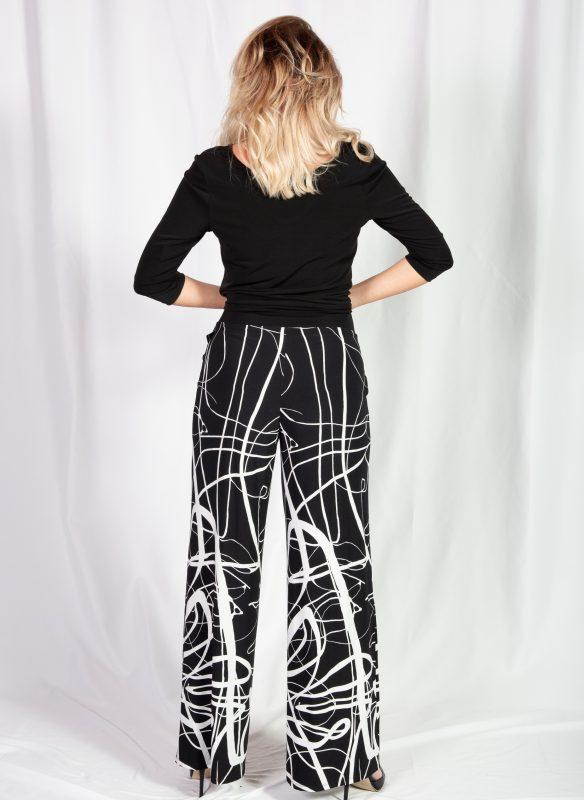 Michael Tyler Black & White Print Wide Leg Pant With Tummy Control