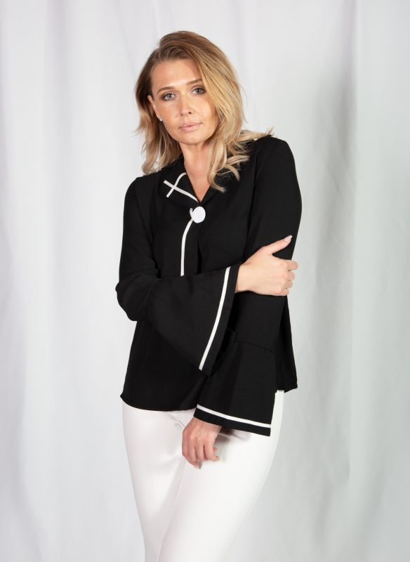 Patrizia Luca Notched Collar Jacket Top With White Trim