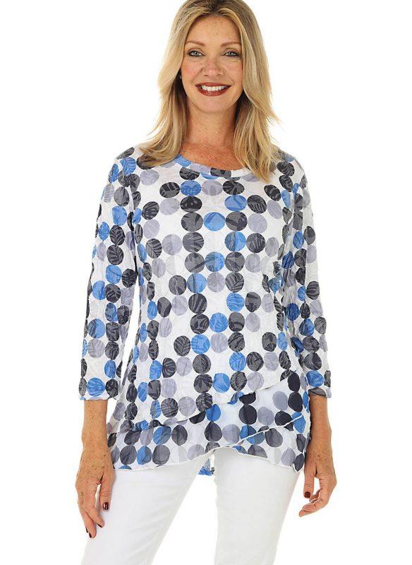 Shana Dot Asymmetrical Knit Tunic