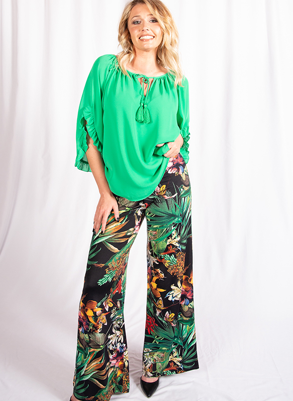 Julian Chang Tropical Print Palazzo Pant