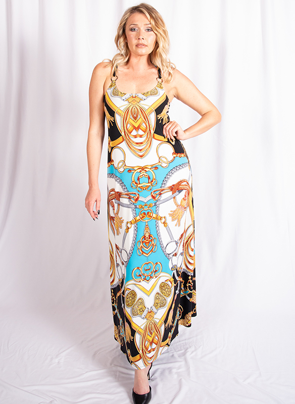 Eva Varro Ring Straps Maxi Printed Dress