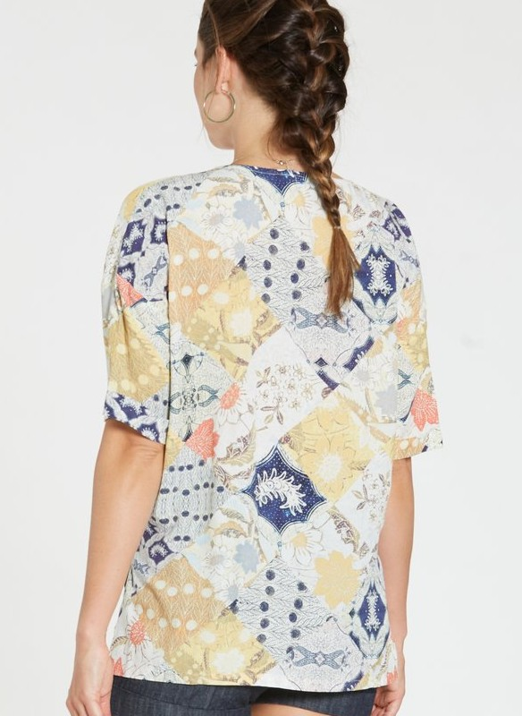 Dear John Print Button Down V Neck Top