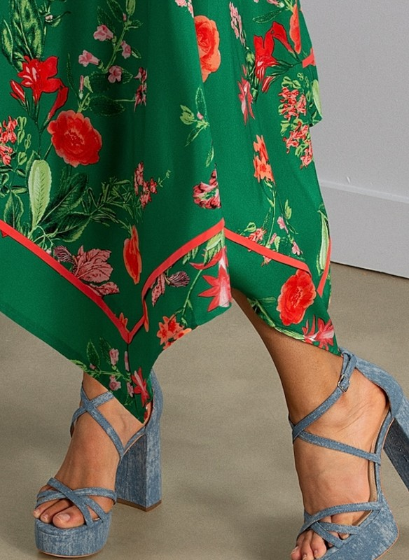 Vince Camuto Floral Print Scarf-Hem Dress