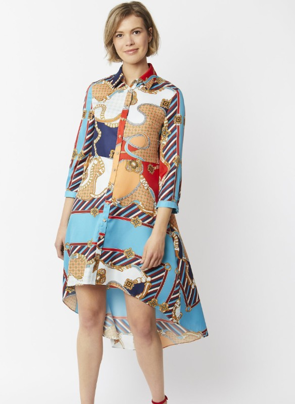 Jayley Button Down High-Low Print Dress