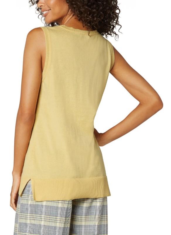 Liverpool Sleeveless Sweater With Side Slits