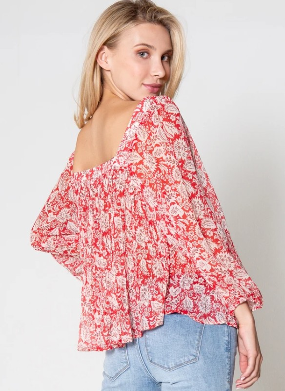 Dear John Square Neckline Printed Top