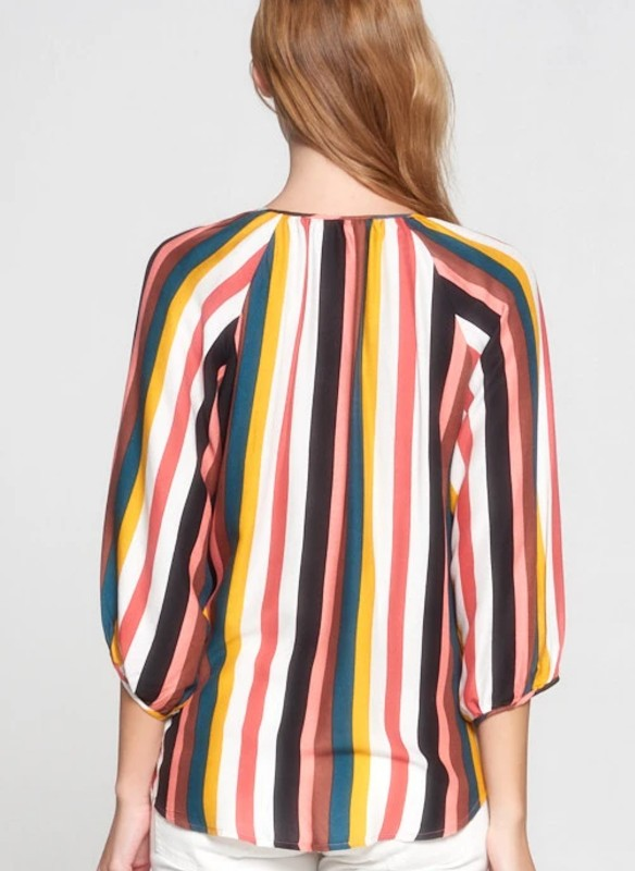 Renee C. Multicolor Stripe V Neck Top