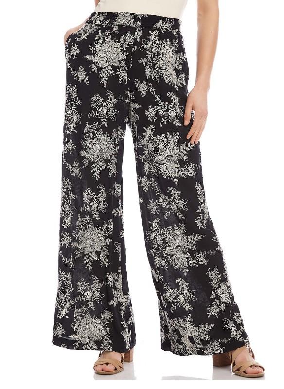 Karen Kane Embroidered Wide-Leg Pants
