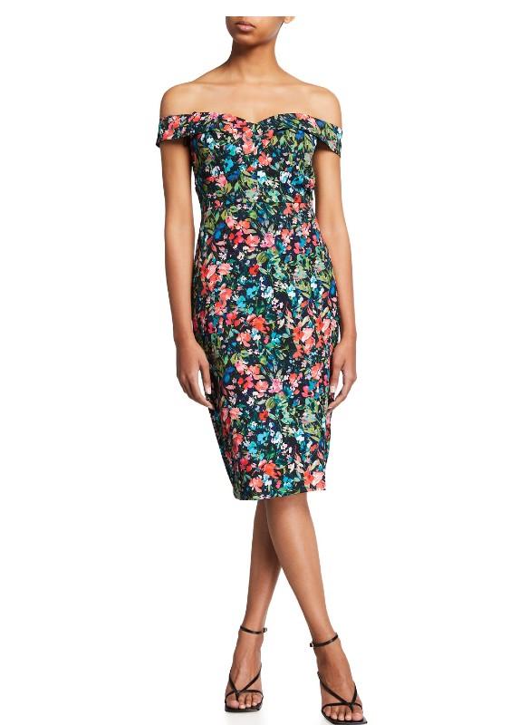 Aidan Mattox Floral Print Off The Shoulder Dress
