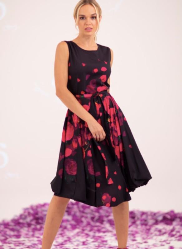 Samuel Dong Sleeveless Floral Print Dress