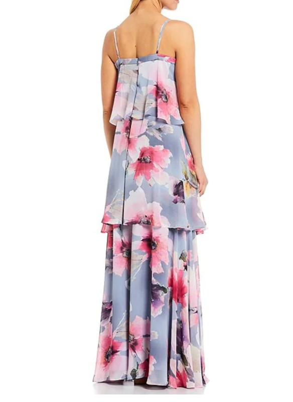 Aidan Mattox Floral Tiered Square Neck Gown