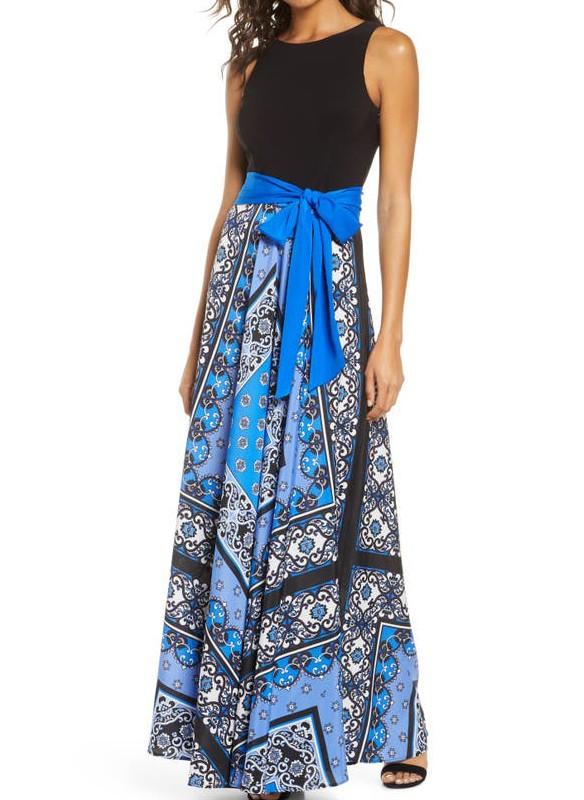 Eliza J Sleeveless Maxi Dress With Printed Skirt