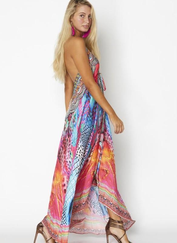 Ranee's Multicolored Animal Print Halter Dress