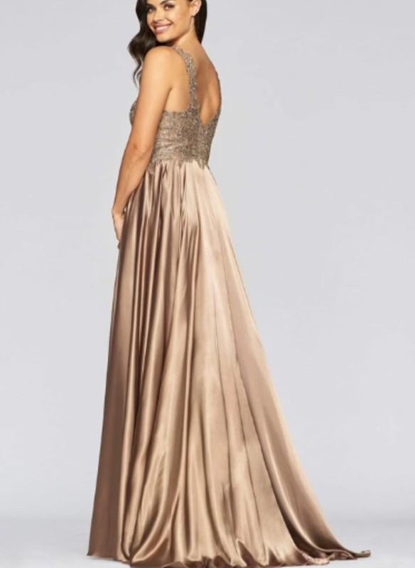 Faviana Charmeuse Dress With Applique Bodice