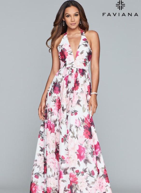 Faviana Floral Halter Chiffon Dress