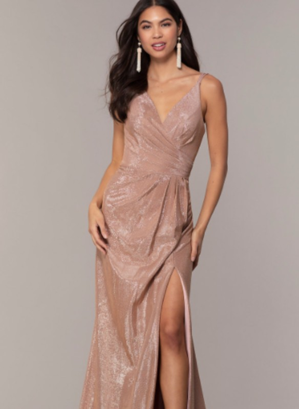 Faviana Metallic V-Neck Dress