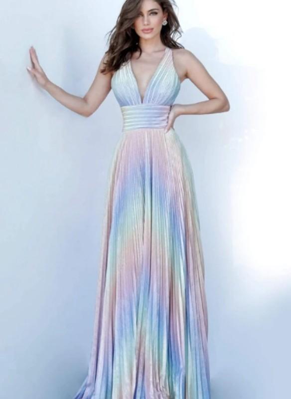 Jovani Pleated V Neck Maxi Dress