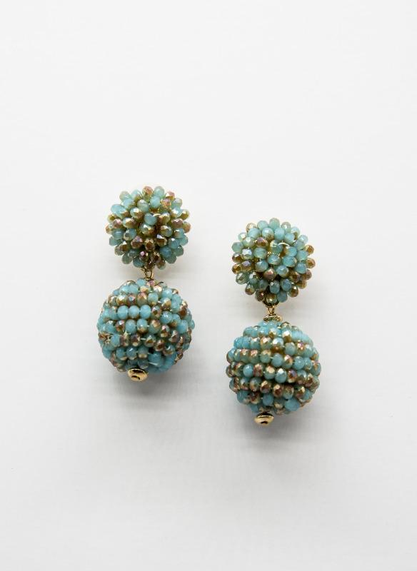 GS Mint & Gold Beads Ball Earrings