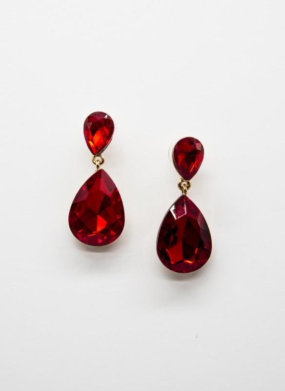 GS Ruby Teardrop Crystal Earrings