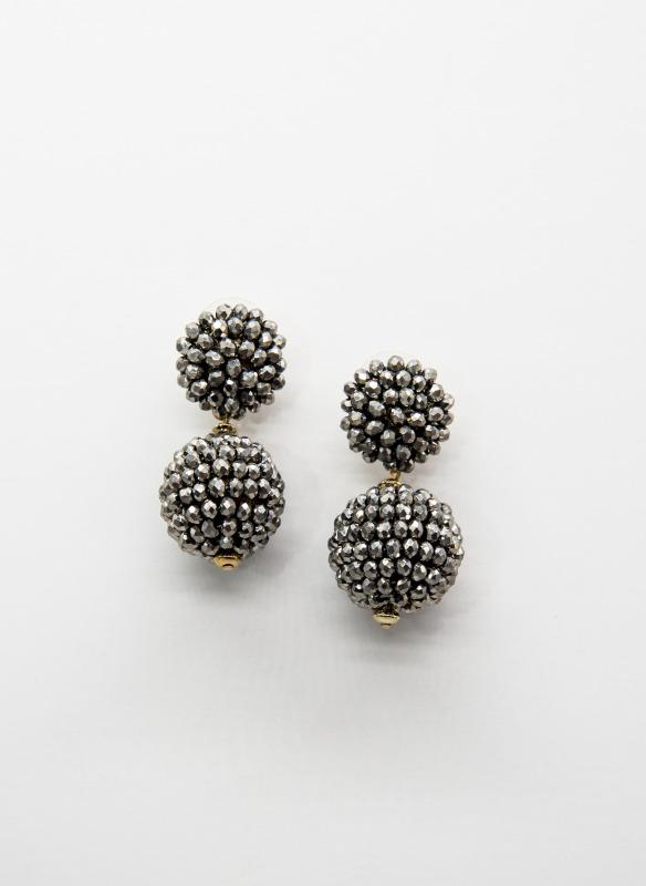 GS Hematite Beads Ball Earrings