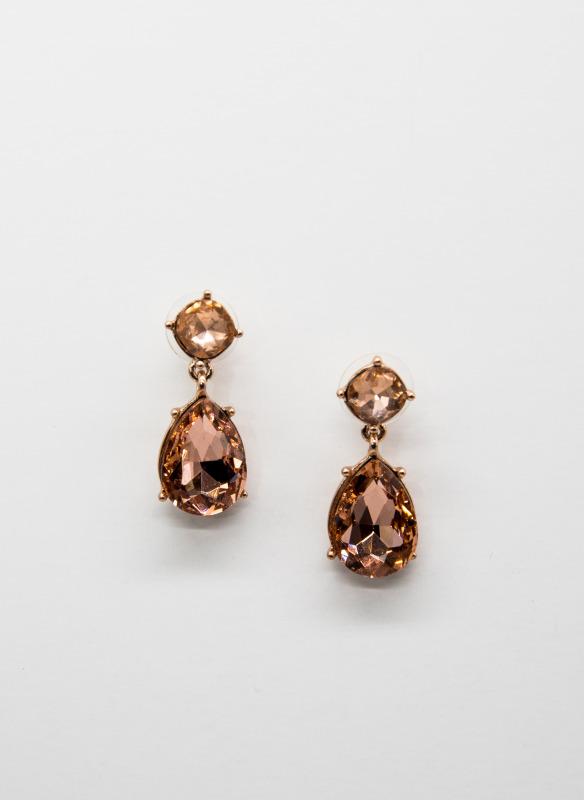 GS Rose Gold Teardrop Crystal Earrings