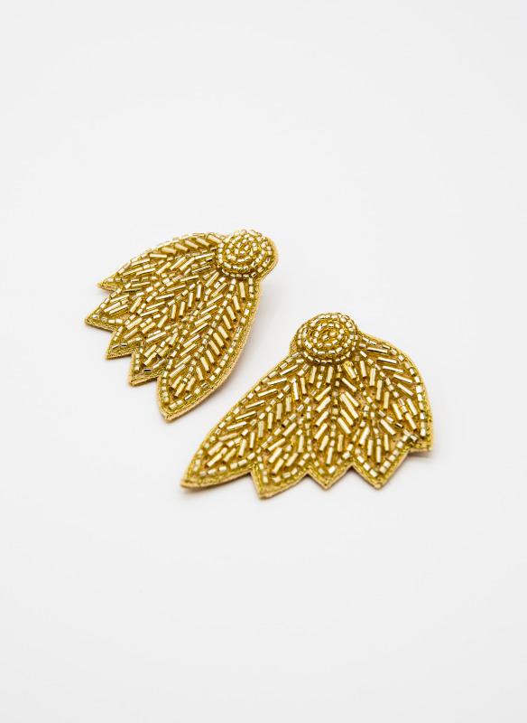GS  Gold Bugle Bead Leaf Earrings