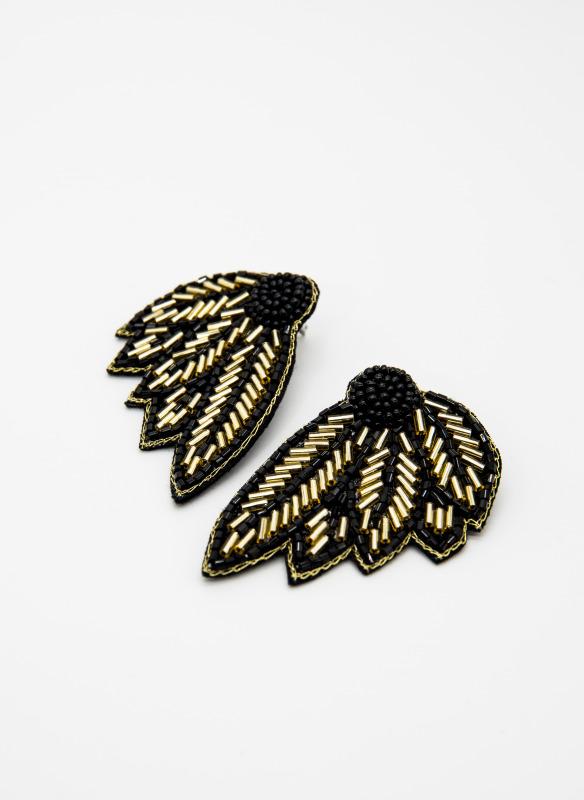 GS  Black Bugle Bead Leaf Earrings