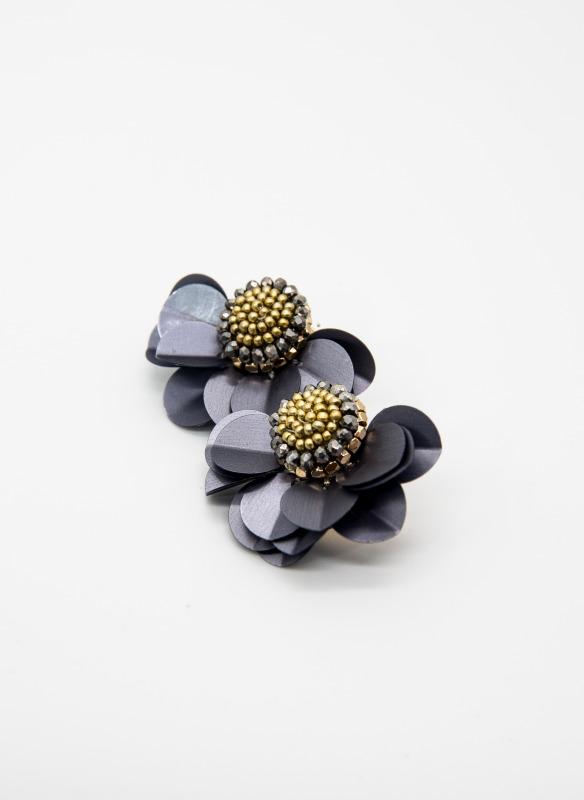 GS Gray Flower Earrings