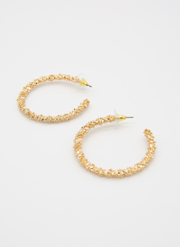 GS Gold Textured Circle Hoops