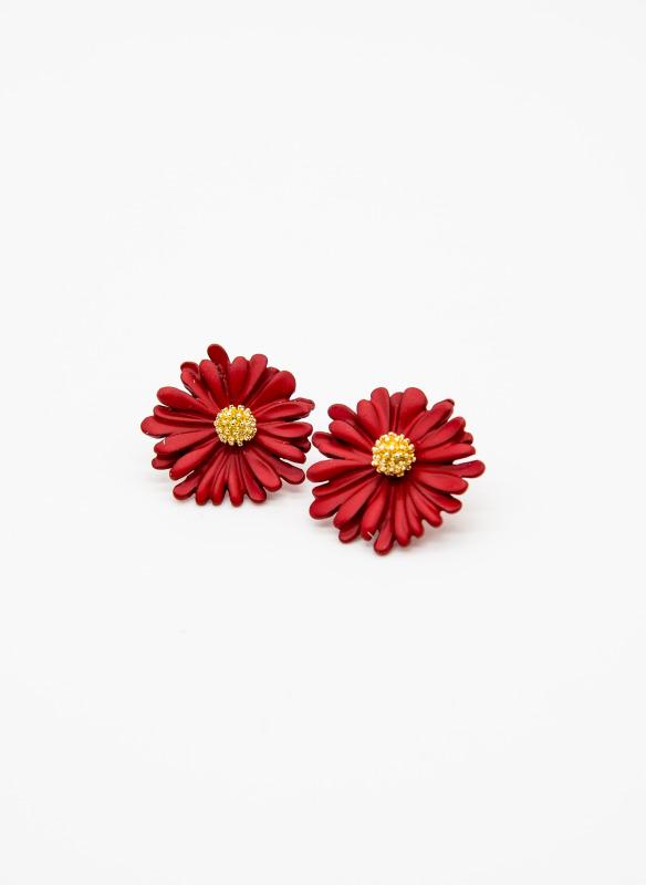 GS Red Daisy Flower Earring