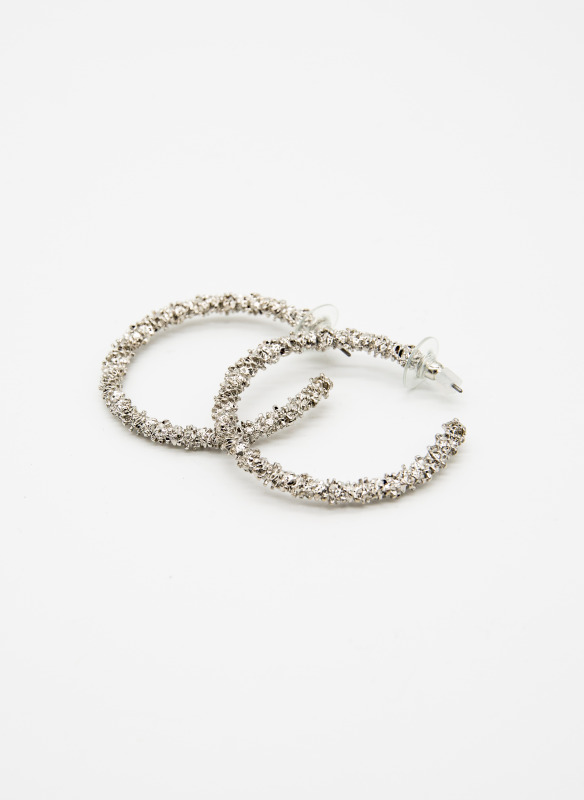 GS Silver Textured Circle Hoops