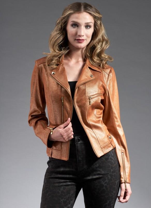 Insight Metallic Vegan Leather Moto Jacket