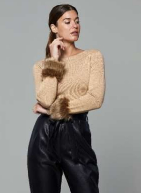 Dolce Cabo Faux Fur Cuff Knit Pullover Sweater